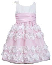 Little Girl 2T-6X Pink White Flutter Bonaz Rosette Border Dress, Bonnie Jean