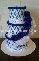 Royal Blue and White Themed Baby Shower Decor 3 Tier Diaper Cake Centerp... - $65.00
