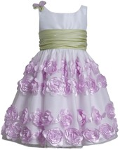 Little Girl 2T-6X Lavender-Purple White Flutter Bonaz Rosette Border Dress, Bonn