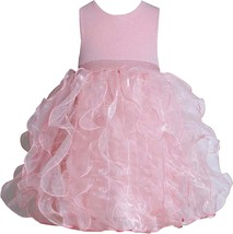 Bonnie Jean Little Girl 2T-6X Pink Shimmer Knit to Cascade Organza Social Dress