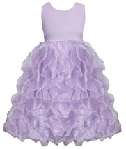 Big Girl Tween 7-16 Metallic Knit To Cascade Organza Ruffles Dress, Bonnie Jean
