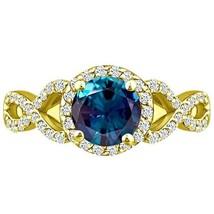 cr Alexandrite & Round Diamond 2.85 ct Infinity Twist Halo Ring Y Gold P... - £266.88 GBP