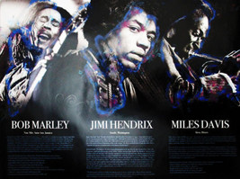 Bob Marley Jimi Hendrix Miles Davis Poster w/ Biography Music Art Photo ... - $14.84