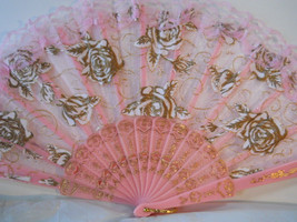 Embroidered Pink Lace Floral Folding Hand Held Fan n125 - $12.99