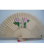 Asian Carved Hand Held Folding Fan Hand Painted with Floral Flowers # 13 - $9.99