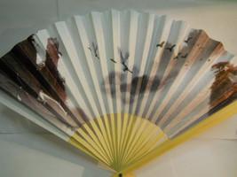 Birds with Mountain Sky Scene Folding Hand Fan #98 - $7.99