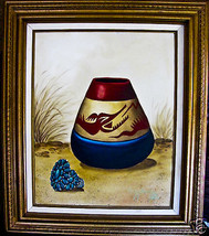 Painting by Navajo Jimmy Yellowhair pot & turqu... - $148.50