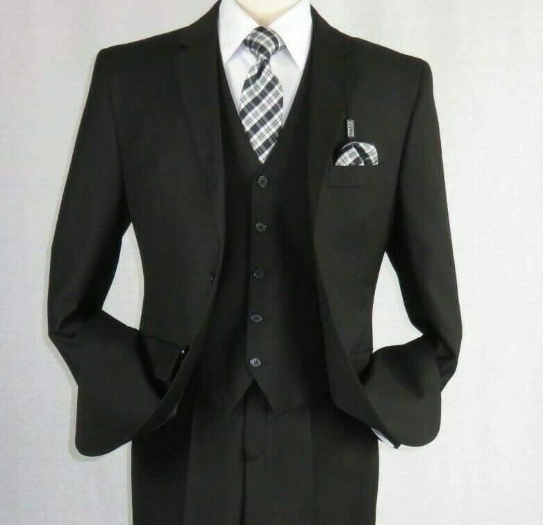 Primary image for Mens Angelo Rossi 3PC vested Formal or Business Suit poly Rayon 320 Black SALE
