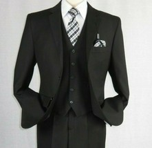 Mens Angelo Rossi 3PC vested Formal or Business Suit poly Rayon 320 Blac... - $119.96