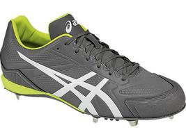 Asics Mens Base Burner Gray Faux Leather Baseball Cleats Shoes 6 Medium ... - $59.39