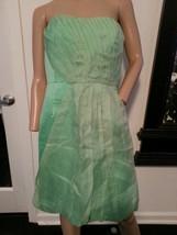 J Crew Cotton Linen Mint Green Silk Overlay Bridesmaid Wedding Seraphina Dress 8 - $113.99