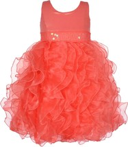 Little Girl 2T-6X Metallic Knit To Cascade Organza Ruffles Dress, Bonnie Jean
