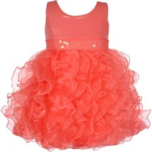Baby Girl 3M-24M Metallic Knit To Cascade Organza Ruffles Dress, Bonnie Jean