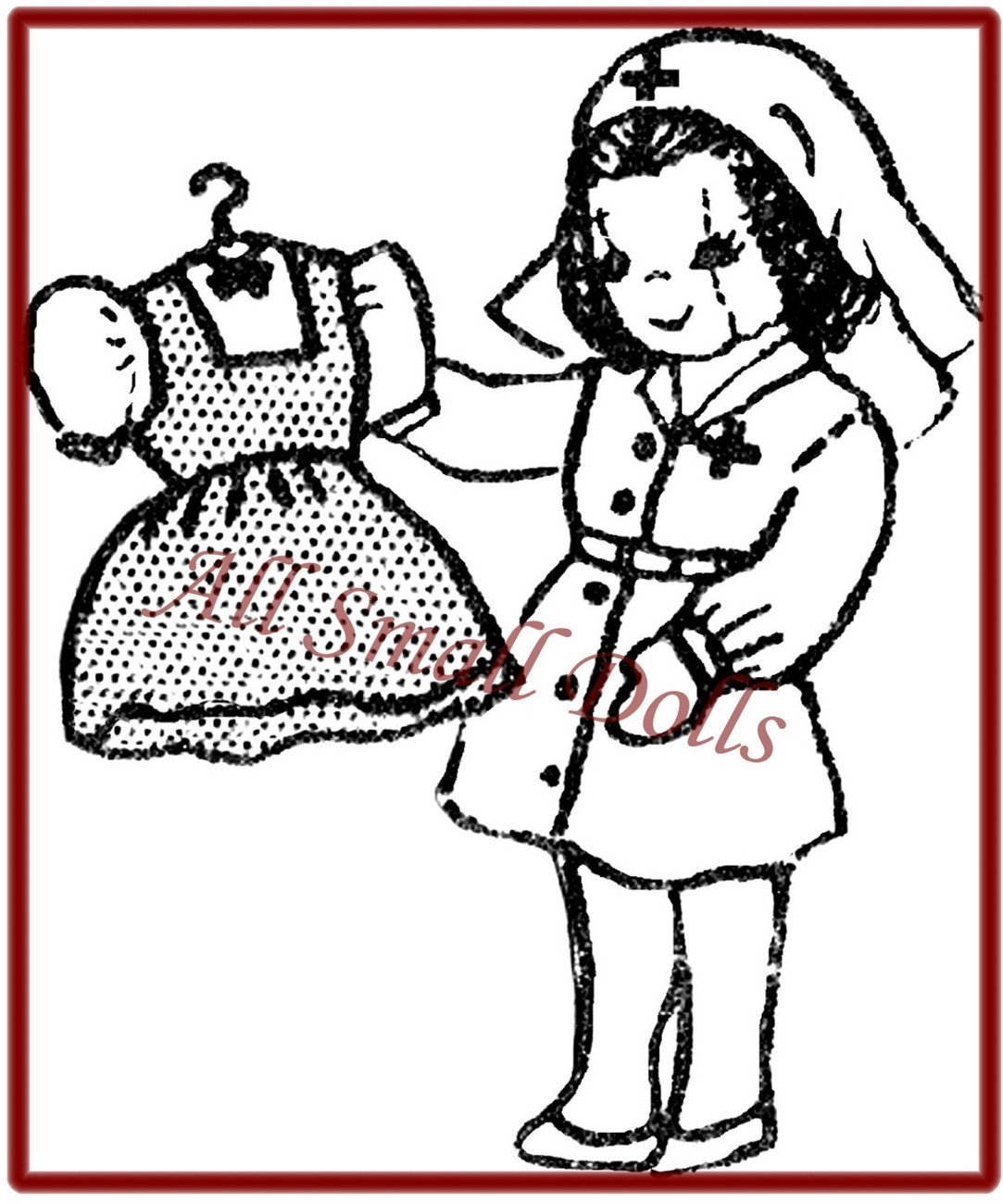 "Vintage 9 1/2"" Cloth Doll Pattern~Nurse Outfit & More"