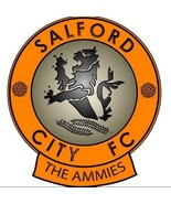 Salford City FC shaped vinyl sticker emblem 115mm x 103mm Manchester United - $3.44
