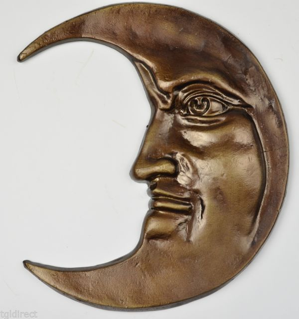 "Primary image for Decorative Cast Iron Moon Face Wall Hanging 12"" Tall Home Decor Accent Sculpture"