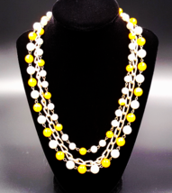 Hong Kong Vintage Necklace with Yellow and White Beads and Faux Pearls - $15.00