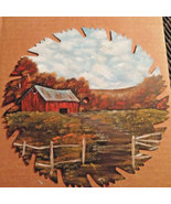 Order 4 Red Barn Country Scene, Fall, 9 Inch Saw, Hand Painted, Metal Ar... - $85.00