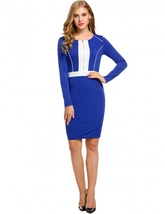 Women Casual O-Neck Long Sleeve Contrast Color Patchwork Dress - $39.95