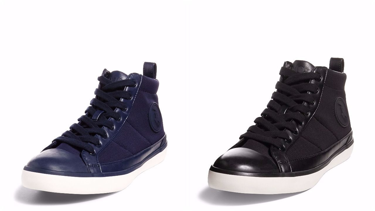 POLO RALPH LAUREN CLARKE MESH HIGH-TOP CASUAL SNEAKER BLACK OR NAVY