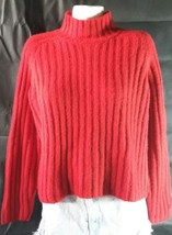 The Limited Women's Large Long Sleeve Red Medium Knit Mock Turtleneck Sw... - $8.60