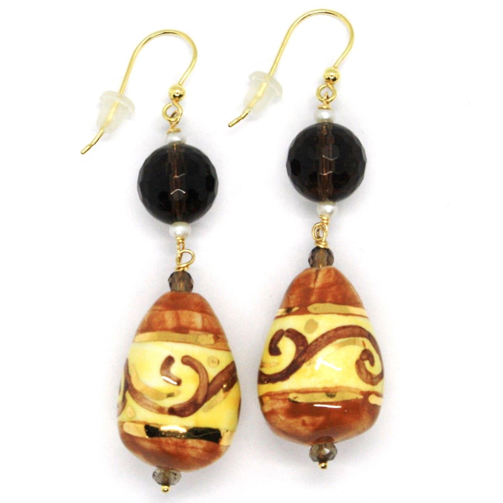 18K YELLOW GOLD EARRINGS SMOKY QUARTZ POTTERY CERAMIC DROP HAND PAINTED IN ITALY