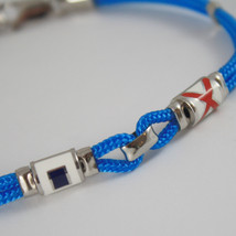 925 SILVER BRACELET NAUTICAL AZURE ROPE HUG GLAZED FLAGS BY ZANCAN MADE IN ITALY image 2