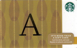 Starbucks 2014 Monogram A Collectible Gift Card New No Value - $4.99