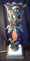 Vintage Brass Gothic Cherub Table Lamp - $52.35