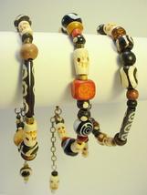 African Trade Bead Bracelets with Skull beads and Kenyan Batik Bone, Sto... - $25.00