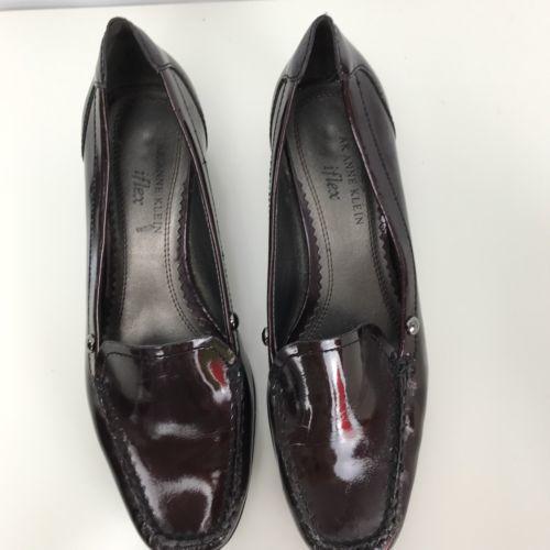 247e861bb50 ... AK Anne Klein iflex Solid Brown Patent Loafer Heel Slip-On Shoe Size  7.5 M ...