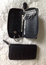 * BLACK * Men Women Leather Wallet Purse Bill Holder Key Case - $9.69