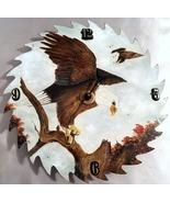 Custom Order Saw Blade Clock with Eagles, Oil Painting, Hand Painted, Ea... - $200.00