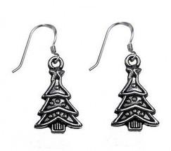 Sterling Silver 925 Christmas Tree Earrings Jewelry New - $26.81