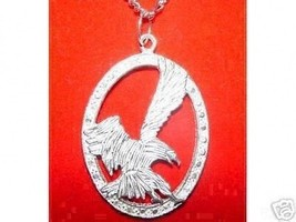 Bald American Eagle eye Hawk Falcon Silver Big charm - $62.07