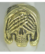 Heavy Grim Reaper See no Evil Gold vermeil Silver skull Skeleton ring An... - $85.00