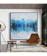 Blue White Abstract Large Canvas Oil Painting Art Decor  - $115.69+
