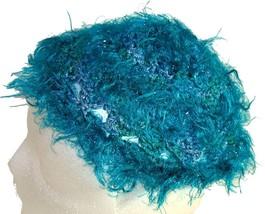 Fuzzy Turquoise Crochet Beanie Hat - €10,59 EUR
