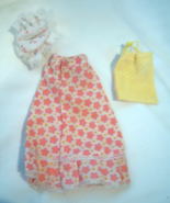 Vintage Barbie Long Floral MOD Skirt Sleeping Cap and Yellow Bag - $9.99