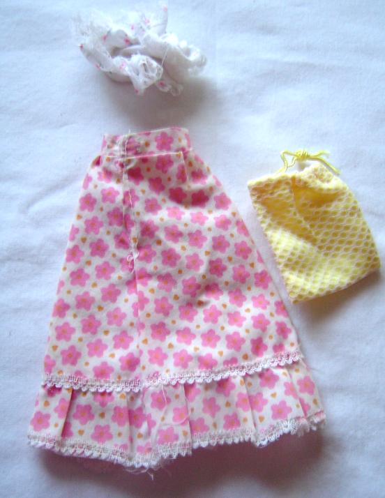 Vintage Barbie Long Floral MOD Skirt Sleeping Cap and Yellow Bag