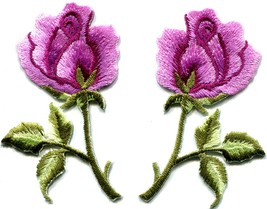 Pink roses pair flowers floral retro boho hippie applique iron-on patch ... - $3.29