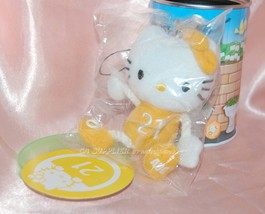 Sanrio 7-11 Hello Kitty Plush Charm Strap Metal Tin Can 21 August Lily o... - $9.99