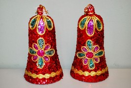 *2* Vintage Christmas Bells RED GLITTER JAPAN Ornament/Wall Hanging Deco... - $34.64