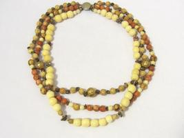 Vintage jewelry Three Strand Natural Jasper & Bone Bead Necklace 19'' Length - $25.00