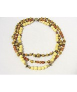 Vintage jewelry Three Strand Natural Jasper & Bone Bead Necklace 19'' Le... - $25.00