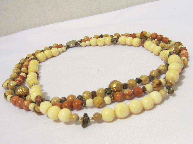 Vintage jewelry Three Strand Natural Jasper & Bone Bead Necklace 19'' Length