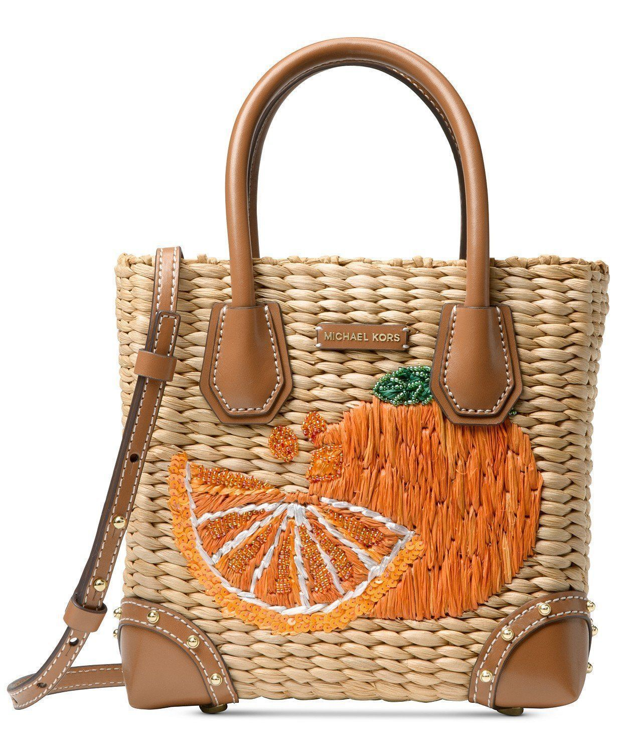 dccb3c7bf0d9 Michael kors malibu medium straw messenger bag natural tangerine 3