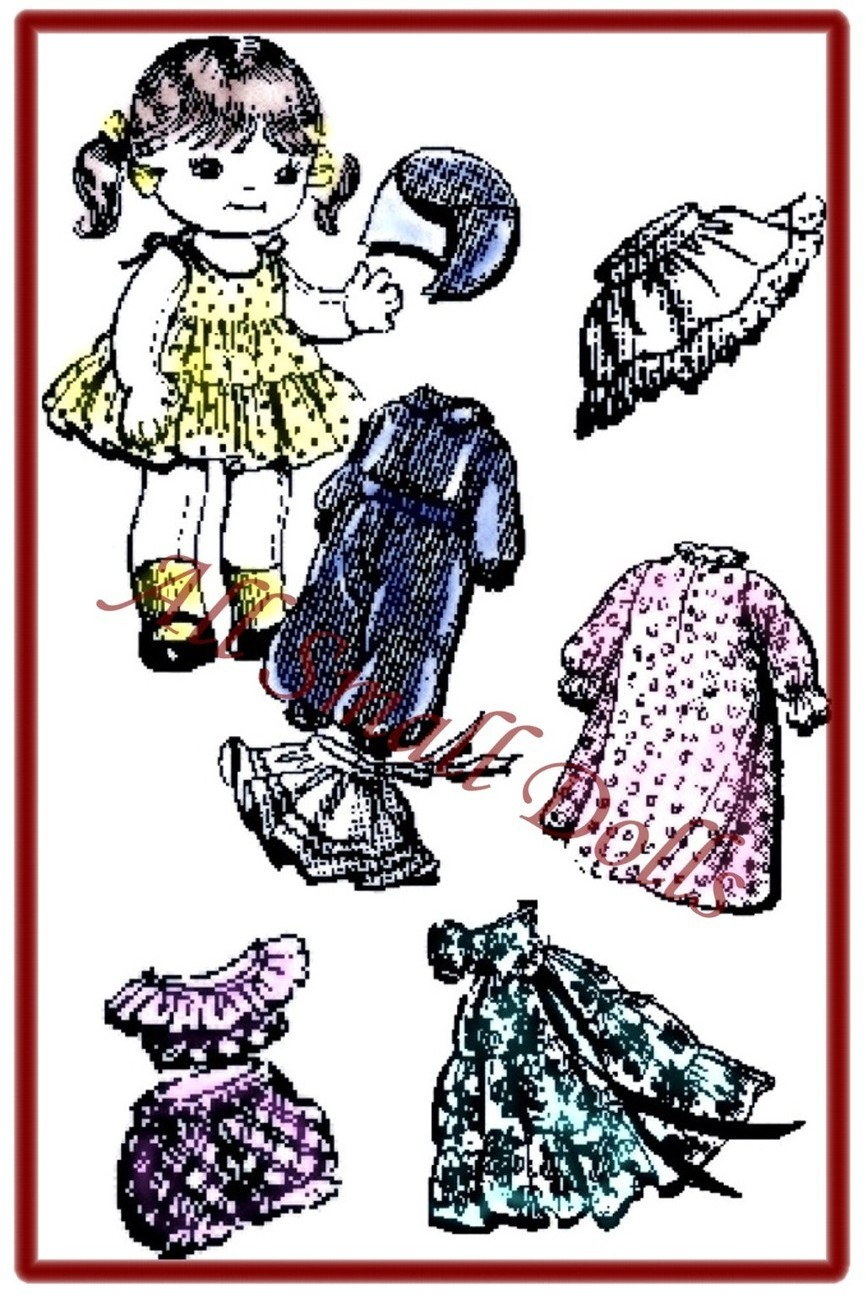 "Primary image for Vintage Pattern for 9"" Cloth Doll with Wardrobe no.2"