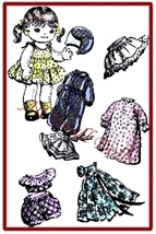 """Vintage Pattern for 9"""" Cloth Doll with Wardrobe no.2 - $5.99"""