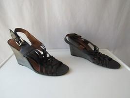 Nine West Vintage America Yonnah Black Leather Ankle Strap Wedge Sandals... - $30.93
